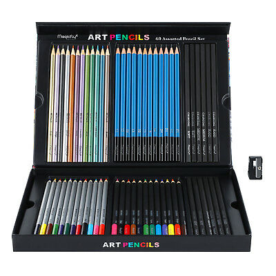 Pencil Charcoal Drawings - 60pc Art Supplies Lot Colored Pencils Professional Drawing Set Sketching Kit