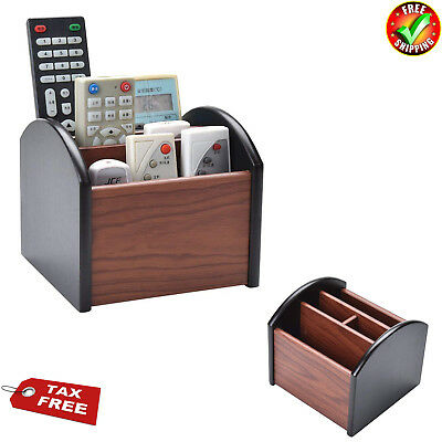 New Revolving Caddy Remote Control Organizer Wooden Storage Holder Box TV Stand