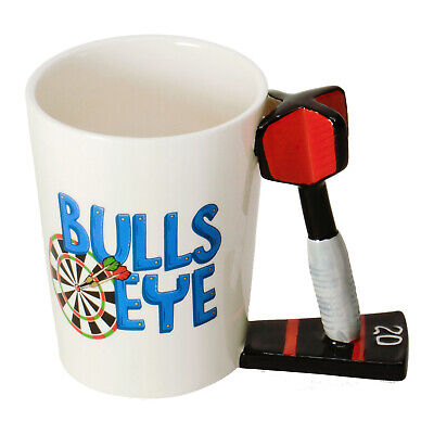 Kaffeebecher Darts - Bullseye mit Dartpfeil als Griff Kaffeetasse Tasse 501