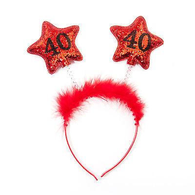 Haarreifen 40. Geburtstag Jubiläum Rot - Jubiläums Kostüm