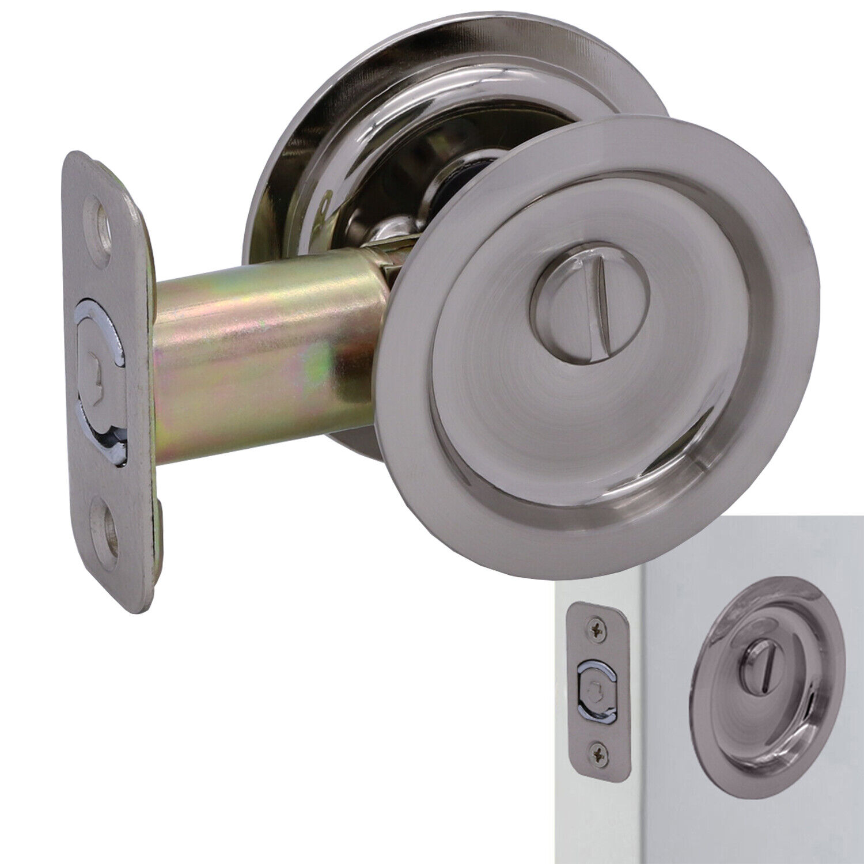 Round Sliding Pocket Door Hardware Latch Pull in Satin Nickel Building & Hardware