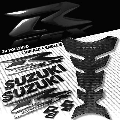 "BLACK PRO GRIP FUEL TANK PAD+8"" 3D SUZUKI LOGO+GSXR FAIRING EMBLEM STICKER KIT"