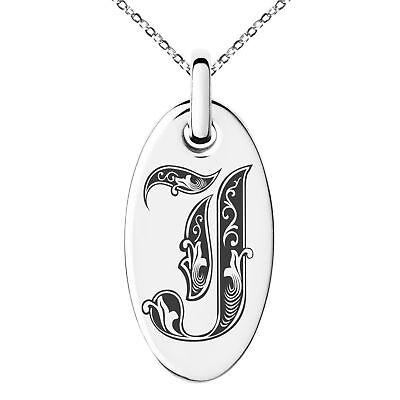Stainless Steel Initial Royal Alphabet Monogram Oval Charm Pendant -