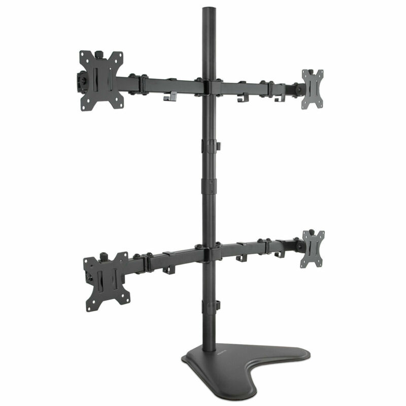 """Mount-It! Quad Monitor Stand Free Standing 4 Mount for 17"""" - 32"""" Inch"""