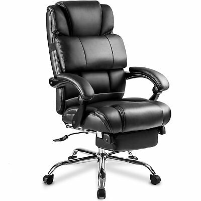 Merax High Back Office Chair Ergonomic Pu Leather Executive Recliner Nap Black
