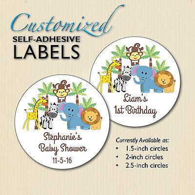 Jungle, Safari Stickers, Baby Shower, Giraffe, Monkey Birthday Favor Bag Labels