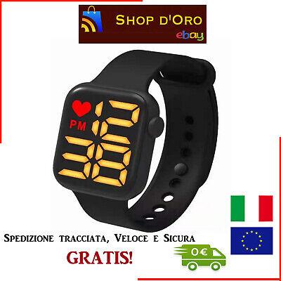 Orologio Sportivo LED Fitness Minimal Elettronico Digitale Nero in Silicone