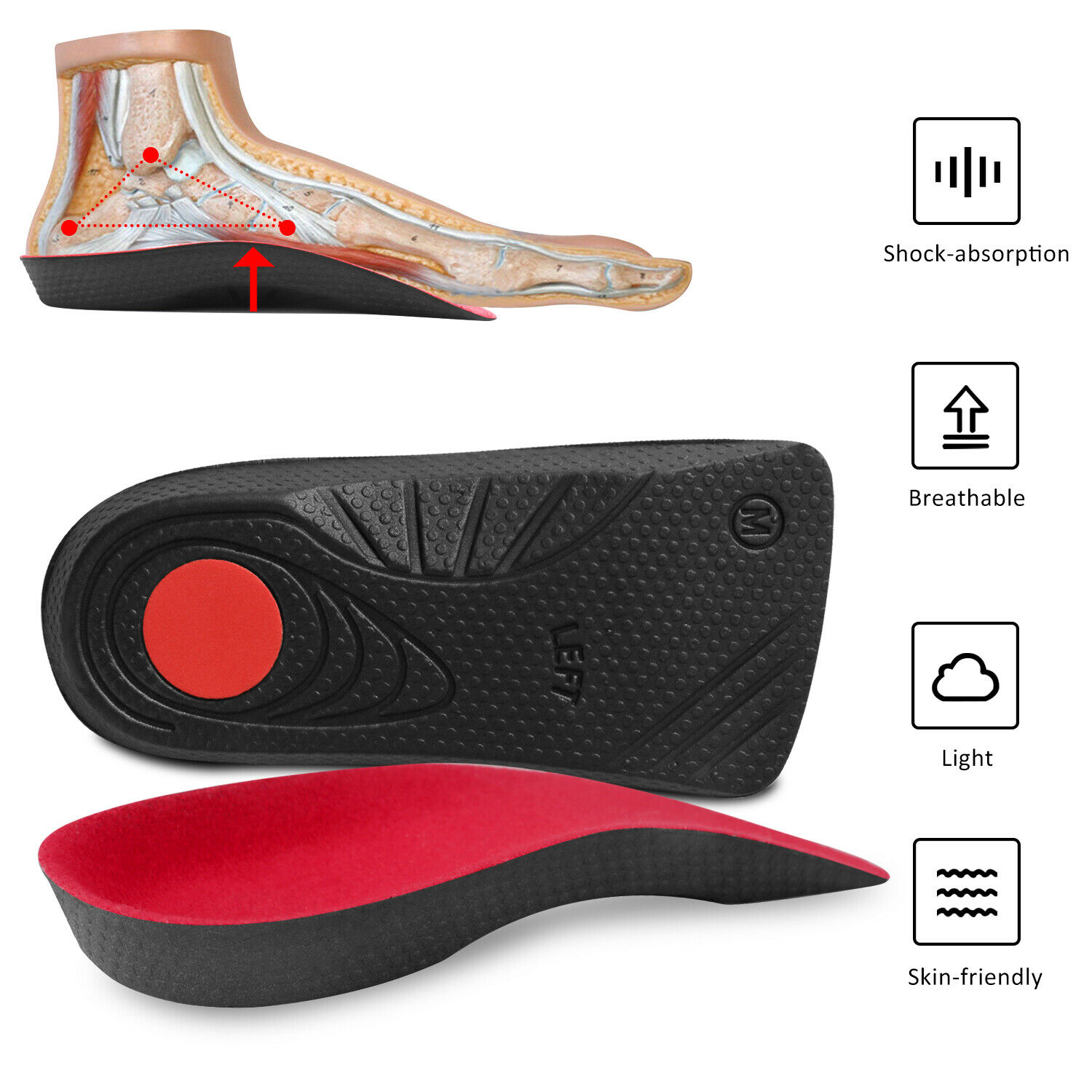 3/4 High Arch Support Orthotic Shoe Insoles Inserts Flat Fee