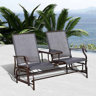 Patio Glider Rocking Chair Bench Loveseat 2 Person Rocker Deck Outdoor Furniture - Glider Outdoor Bench