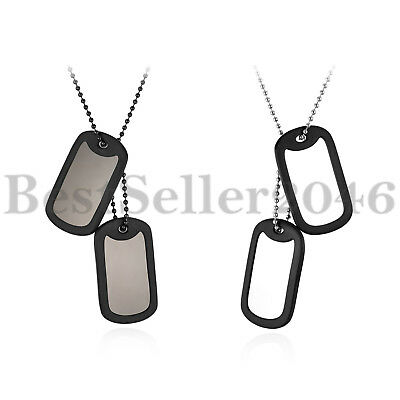 FREE ENGRAVING Army Style 2 Dog Tags Pendant Chain Men Necklace with Silencers
