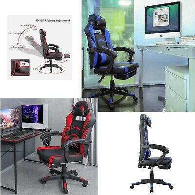 Office Chair High Back Computer Racing Gaming Chair Ergonomic Chair Footrest Red