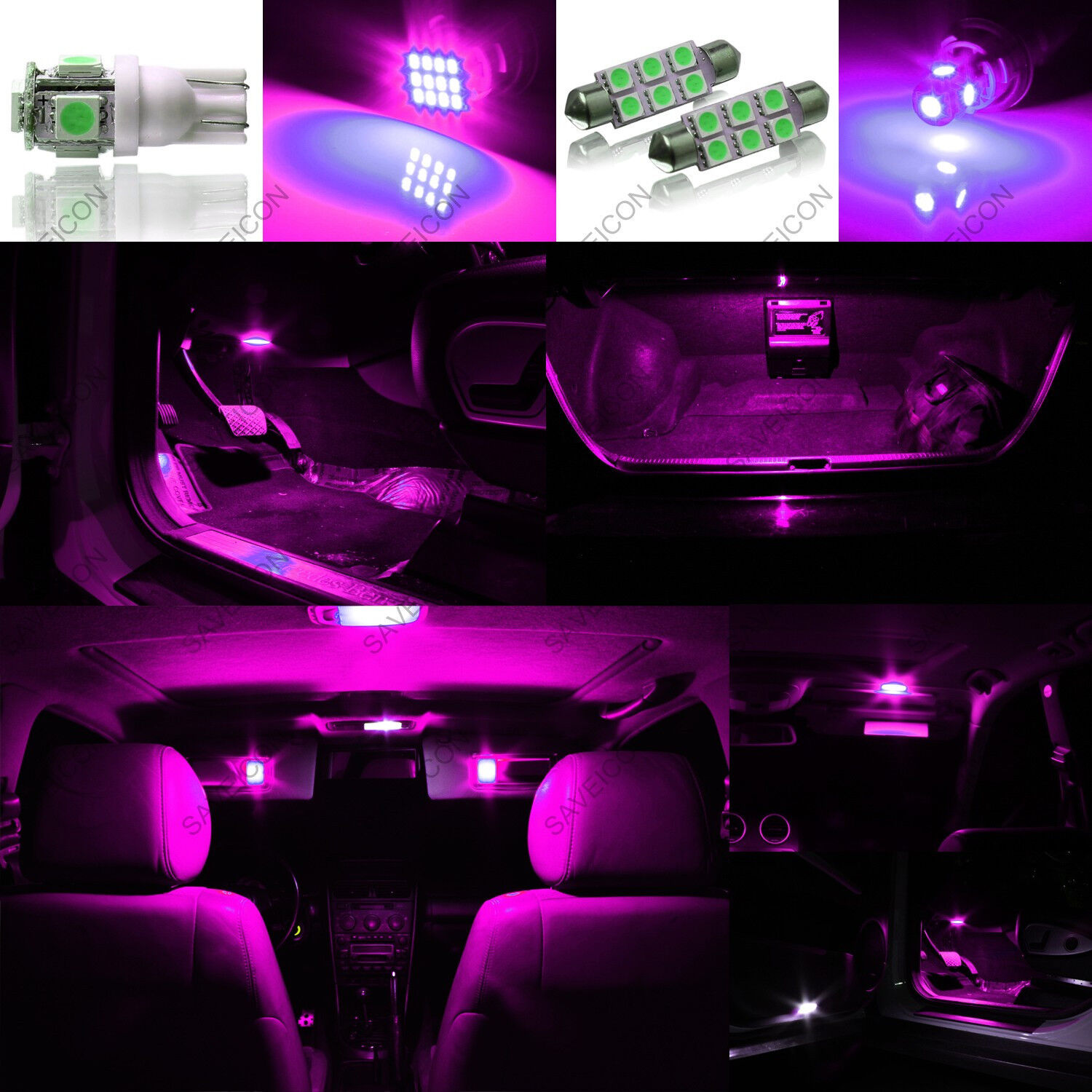 9 X Pink Purple Led Interior Light Package For 2006 2010 Dodge Charger Picclick