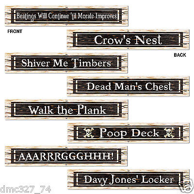 """4 PIRATE Jolly Roger Birthday Party Prop STREET SIGN CUTOUTS Decorations 4""""x24"""""""