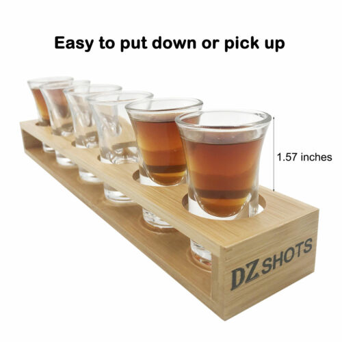 Bamboo Shot Glass Set With 6x Glasses For Whisky Vodka Rum and Tequila