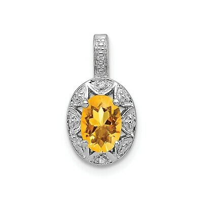 Sterling Silver Rhodiumed Diamond & Citrine November Birthstone Oval Pendant