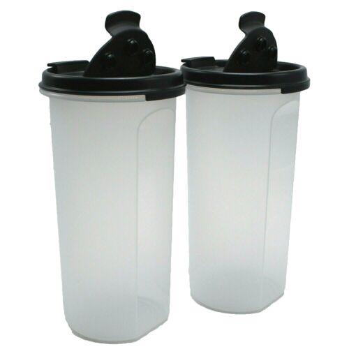 Tupperware Modular Mates Round #3 Shake N Pour Seal Black Lid 22 oz Set of 2