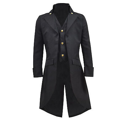 Steampunk Boy Costume (Kids Steampunk Tailcoat Boy Black Jacket Fake two pieces Coat For Show)