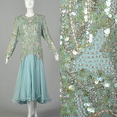 80s Dresses | Casual to Party Dresses XXL Beaded Dress 1980s Silk Drop Waist Formal Long Sleeve VTG 80s $178.50 AT vintagedancer.com