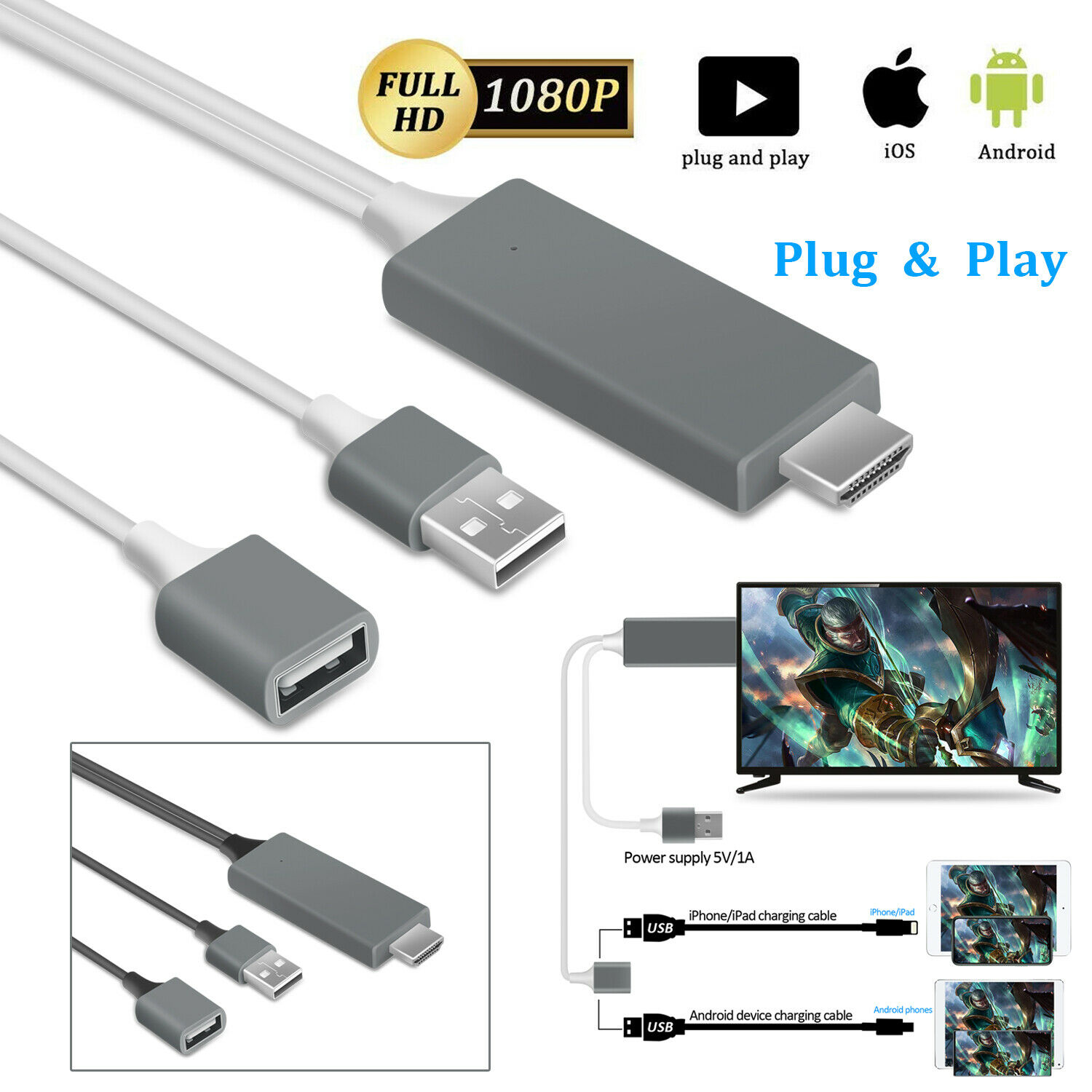 1080P HDMI Mirroring Cable Phone to TV HDTV Adapter For iPho