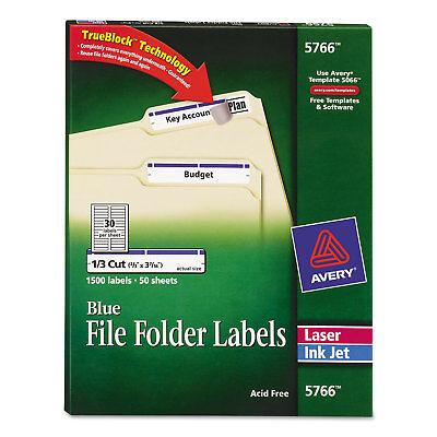 Avery Permanent File Folder Labels TrueBlock Inkjet/Laser Blue 1500/Box 5766