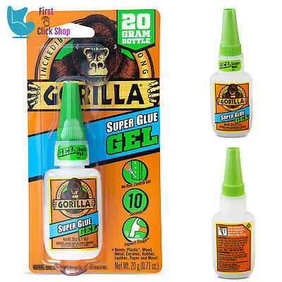 Gorilla Super Glue Gel Clear 1 Pack For Plastic Wood Metal Rubber Leather Paper
