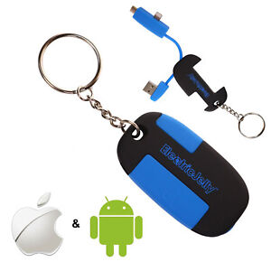 Emergency Keyring Charger Cable - Micro USB iPhone iOS Android Phone Power Bank