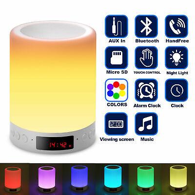 LED Touch Sensor Night Light Wireless Bluetooth Speaker Alarm Clock Bedside Lamp