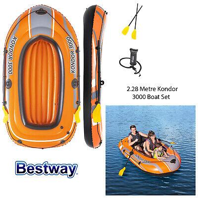Bestway 2.28M Inflatable Kondor 3000 Boat Set Outdoor Pool Lake Rubber Dingey