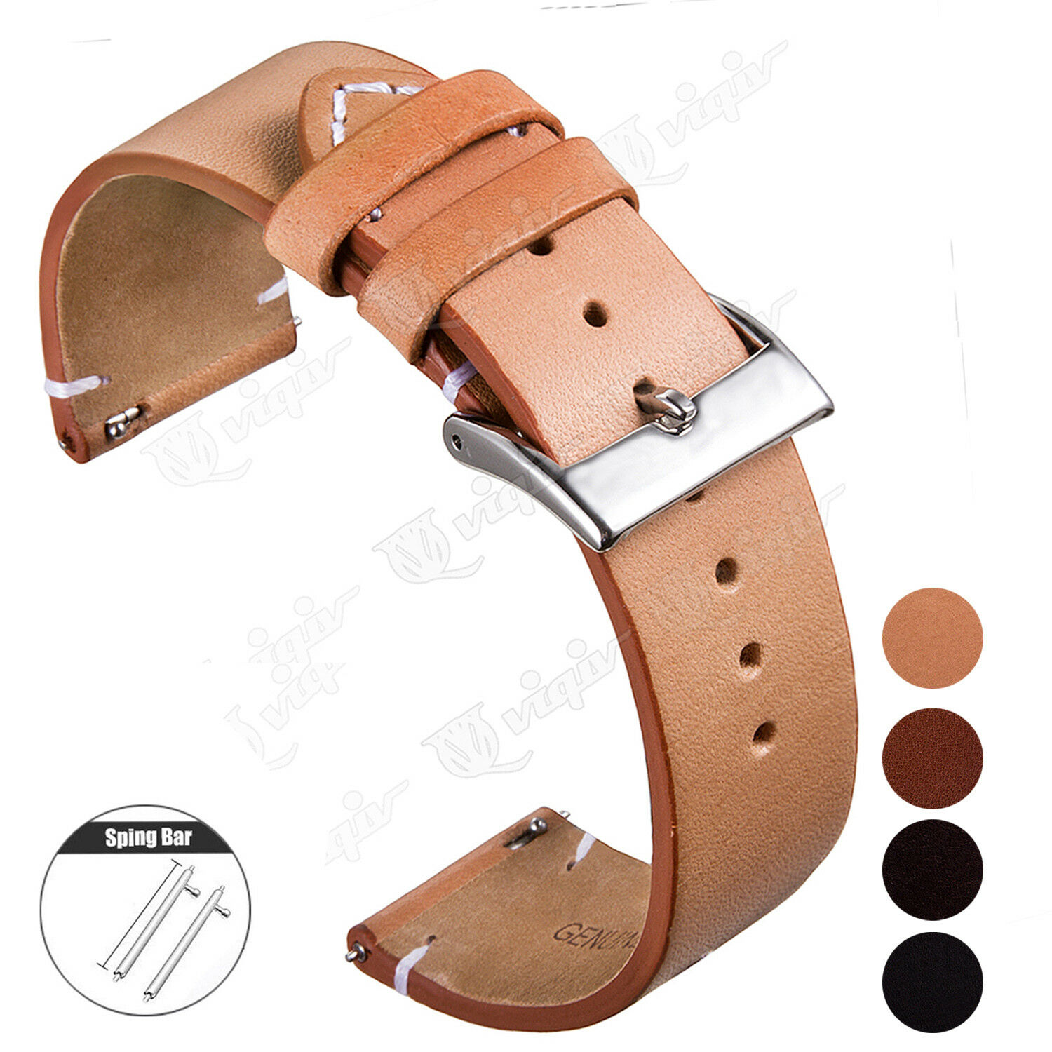 18 20 22mm Quick Release Pin Genuine Leather Watch Band Repl