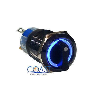 Durable 12v 19mm Car Black 3 Position Blue Angel Eye Led Selector Switch