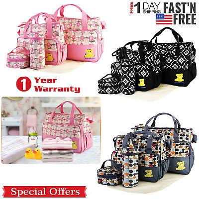 5 Pcs Baby Changing Diaper Nappy Bag Mummy Mother Handbag Multi-functional Set Diaper Baby Bag Purse