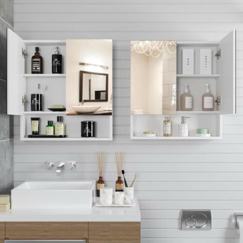 Badspiegel Wandspiegel Spiegelschrank Badschrank Beleuchtung MDF Holz Weiß