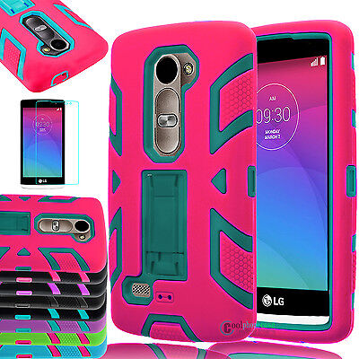 Hybrid Rugged Impact Hard Armor Stand Matte Case For LG Sunset L33L / Risio H343