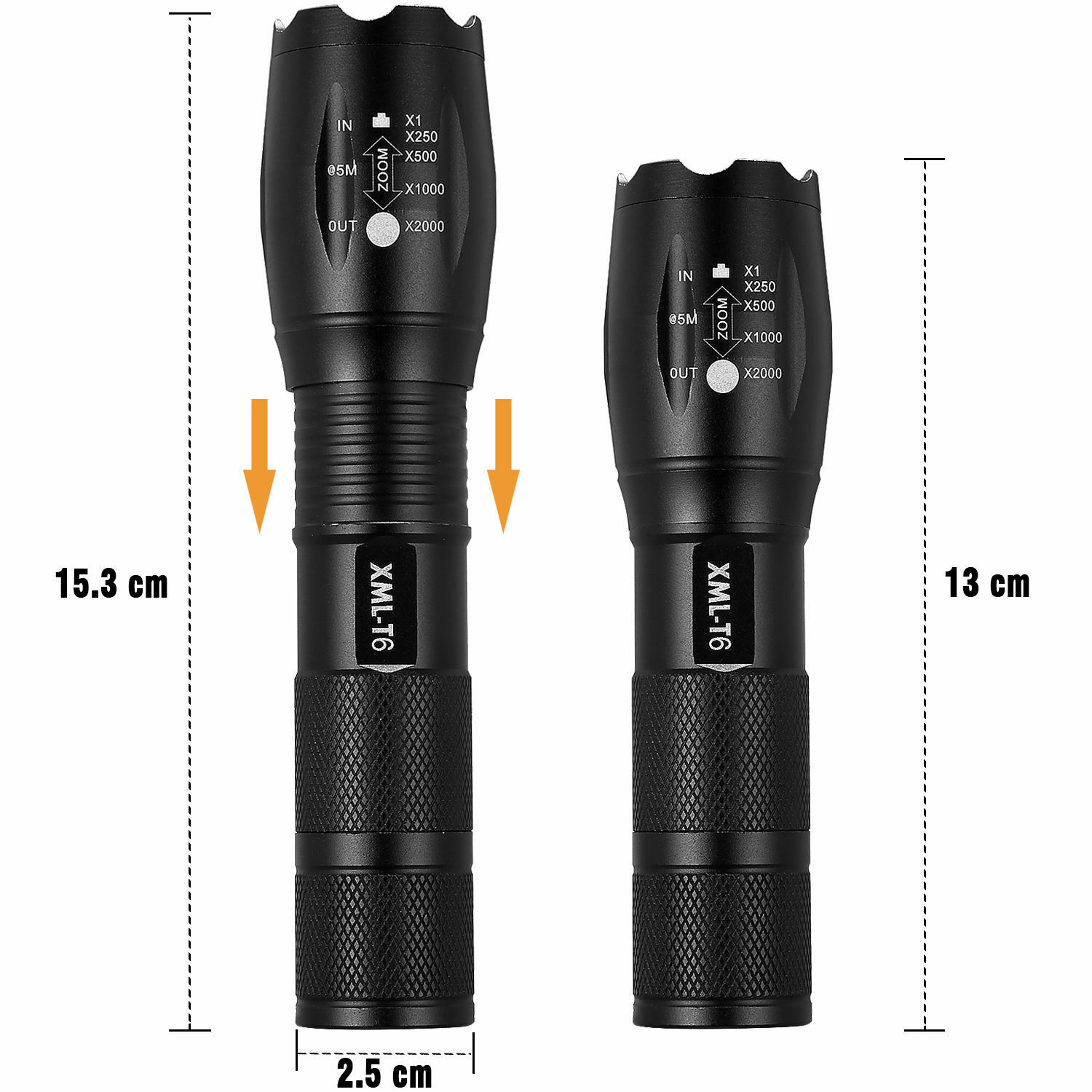 2 Sets 15000 Lumens 5 Modes CREE XML T6 LED Flashlight 18650 Battery+Charger USA Camping & Hiking