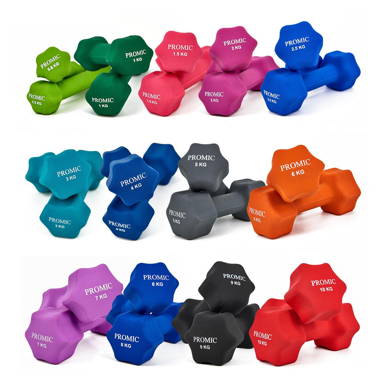 Neopren Hanteln 2er Set Kurzhanteln Gewichte Fitness Aerobic 0,5-10KG PROMIC