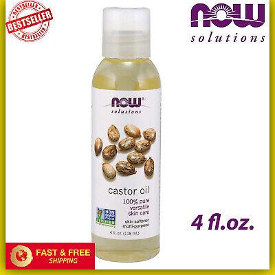 NOW Solutions 100% Pure Castor Oil for Hair & Skin Care Softener,Non-GMO 4 fl oz