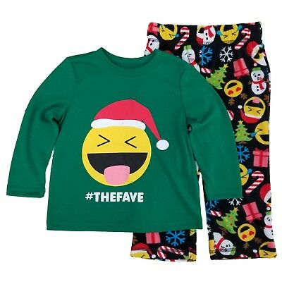 Toddler & Little Boys #The Fave Smiley Face Emoticon Christmas Pajama Set - Little Boys Christmas Pajamas