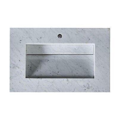 Bathroom Vanity Carrara White Marble Top w/ Integrated Ramp Sink - 36