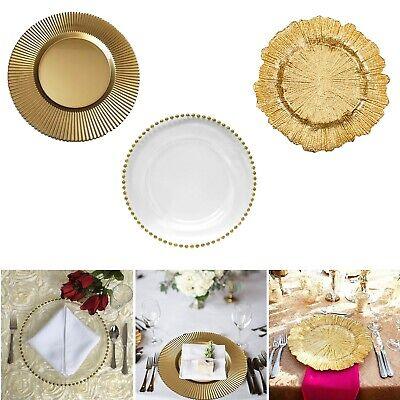 Glass Charger Plate 3 Design Wedding Event Tableware Decorative Dinner Placemats - Design Charger Plate