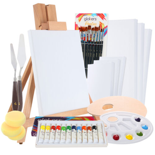 Glokers Complete 36 Piece Professional Acrylic Painting Supplies Set