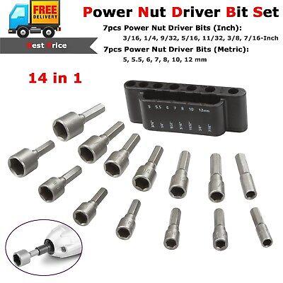 14pcs Power Nut Driver Bit Set Detent Shank Quick Change Dual SAE 1/4