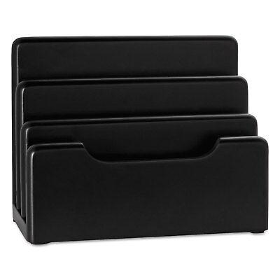 Rolodex Wood Tones Desktop Sorter Three Sections Wood Black 62525
