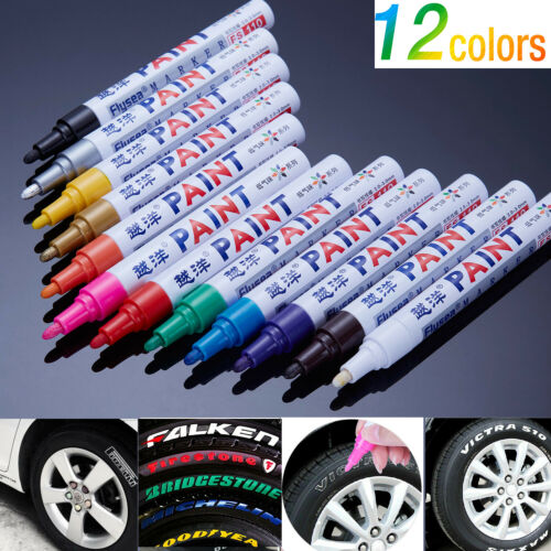 12PCs  Waterproof Permanent Paint Marker Pen Car Tyre Tire Tread Rubber Metal