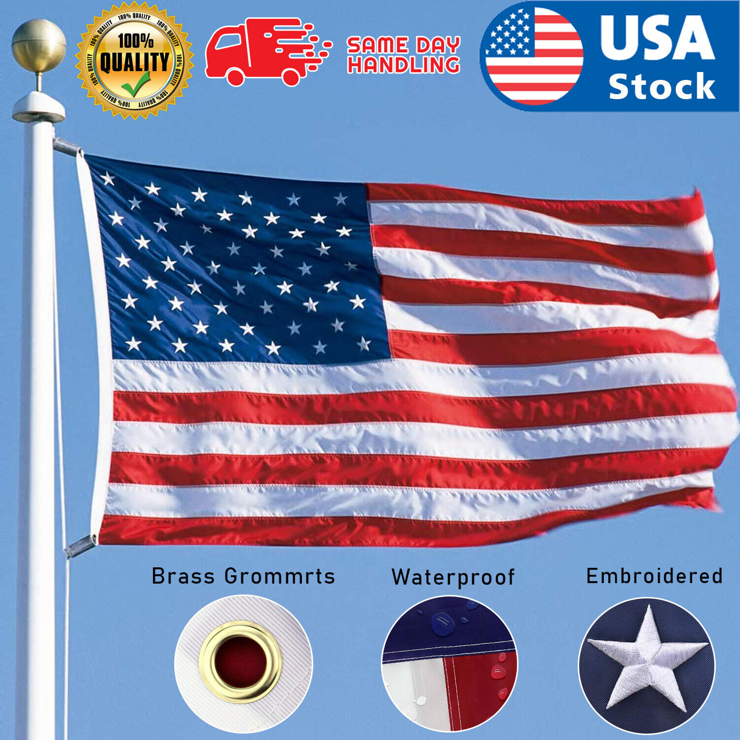 American Flag 3×5 ft 420D Nylon UV Protected Embroidered Stars Outside US Flag Collectibles