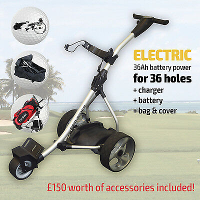 Pro Rider Electric Motorised Golf Trolley - Inc Battery, Charger & FREE Accs