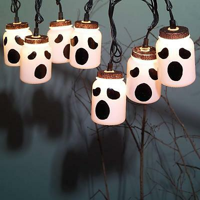 Halloween 8 LED Mason Jar Ghost White Plastic Party Lights Indoor Widows Decor