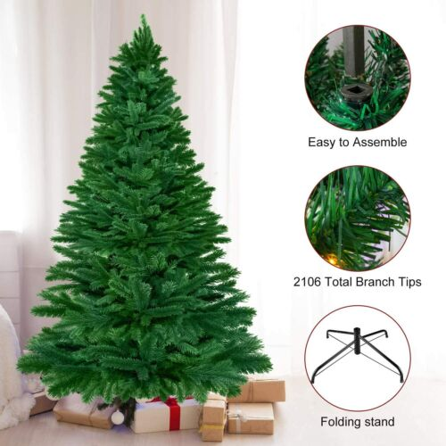 7.5ft Artificial Christmas Tree with Metal Stand Premium Hinged Branch Tips