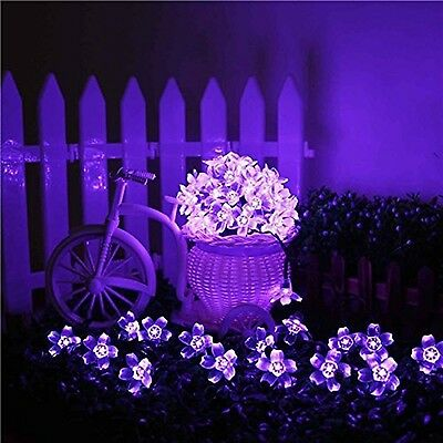Solar Purple Flower String Light Garden Yard Lawn Patio Lamp Decor Outdoor 21ft