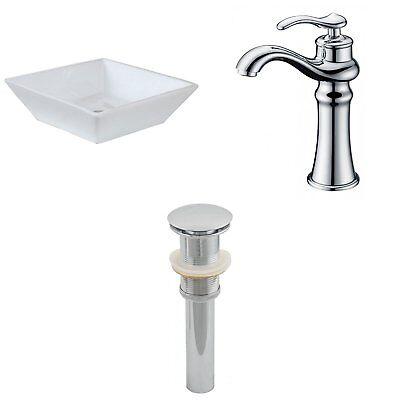 """American 16"""" Square Bath Sink Vessel Set White Deck Mount CUPC Faucet & Drain"""