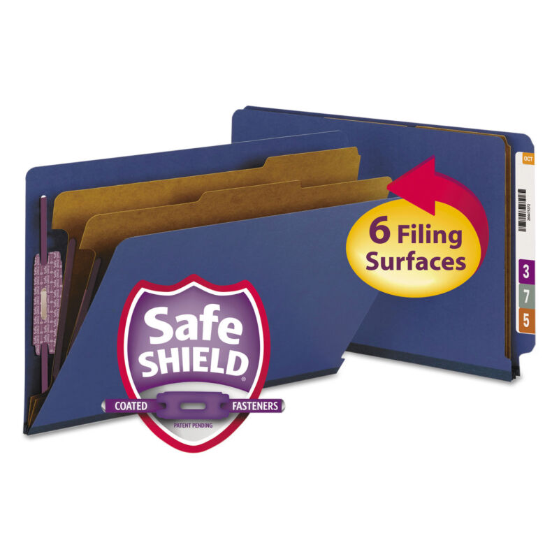 Smead Pressboard End Tab Classification Folders Legal Six-Section Dark Blue 10